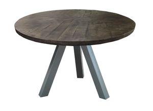 SIT Möbel Esstisch rund   120 x 120 cm   50 mm Tischplatte Mango grau   Metallgestell antiksilbern   B 120 x T 120 x H 76 cm   07107-71   Serie TABLES & CO