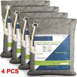 Nature Fresh Air Purifier Bags - Aktivierte Bambuskohle Luftreinigungsbeutel Geruchsbeseitiger für zu Hause, Aktivkohle Geruchsabsorber, Geruchsbeseitiger, Closet Deodorant, Autolufterfrischer