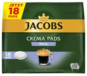 Jacobs Crema Pads mild | 18 Senseo kompatible Kaffeepads 118 g