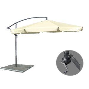 Großer Metall Ampelschirm Gartenschirm Beige 3 M Sonnenschirm mit Kurbel Schirm