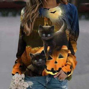 Damen Halloween Top Rundhals Langarm Pullover Pullover Kürbis Sweatshirt,Farbe: Grau,Größe:L