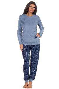 Damen Frottee Pyjama Schlafanzug langarm mit Bündchen und Eiskristall Motiv 291 201 13 900, Farbe:blau, Größe:44/46