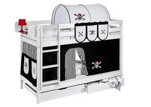 Lilokids Etagenbett JELLE Pirat Schwarz Weiß - weiß - mit Vorhang und Lattenroste - Maße: 150 cm x 208 cm x 98 cm; JELLE1054KW-PIRAT-SCHWARZ-S