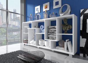 Skraut Home - Regal Bibliothek, Bücherregal, Bibliothek, Regal Design Wohn, Esszimmer Weiß Mate, Maße: 68,5 x 161 x 25 cm Tiefe.