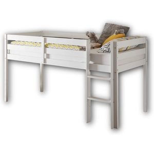 Kinderbett Hochbett Spielbett Weiß Kiefer Massiv Liegefläche ca. 90 x 200 cm 56-200-17
