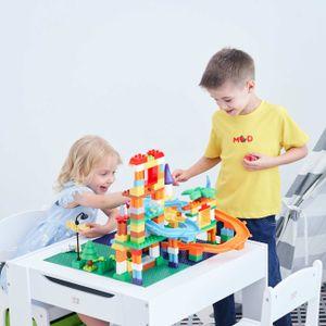 Baby Vivo Kindersitzgruppe mit multifunktionalem Tisch und 2 Stühlen aus Holz - Moritz