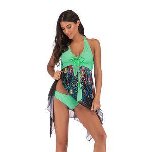 UnicornDD Badeanzug Beachwear gepolsterte,Übergroßer Rock-Bikini mit geteiltem Dreieck und mehrfarbigem Badeanzug für Damen,Grün,4XL Bikini-Sets