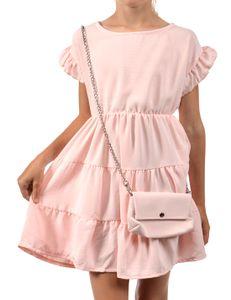 Mädchen Kleid KMISSO schwingender Rock und Tasche Rosa 152