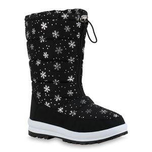 Mytrendshoe Damen Warm Gefütterte Winterstiefel Bequeme Stiefel Prints Schuhe 836087, Farbe: Schwarz Silber Muster Metallic, Größe: 38