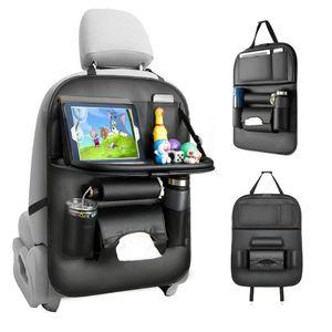 Tsumbay Auto Seat Organizer, Auto Organizer Rücksitz Protector Kick Mats für Kinder Kunstleder Auto Storage Organizer mit faltbaren Tisch Tablett, Tablet Halter, Tissue Box, Multi Taschen (schwarz 1 Pack)