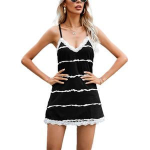 Damen Sling Gestreiftes Spitzenkleid Mit V-Ausschnitt,Farbe: Schwarz,Größe:M