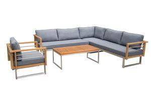 OUTFLEXX Ecklounge, natur/grau, Edelstahl/Teak, 6 Personen, inklusive Sessel und Tisch 110 x 60 cm, Lehne links