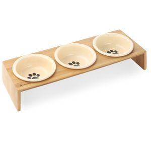 3x Futternapf Katze Keramik mit Bambus Halter