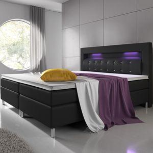 Juskys Boxspringbett Montana 180 x 200 cm schwarz – Komplett Set mit Matratze und Topper – LED-Licht im Kopfteil – Bett aus Kunstleder und Holz – modern