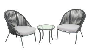 Garden Pleasure Sitzgruppe PIRÄUS Stahl mit Seilbespannung und Auflage 304777
