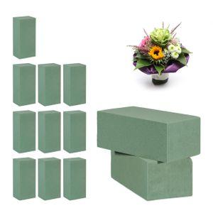 relaxdays 12 x Steckschaum für Frischblumen, Steckmoos, Nass Steckmasse, Steckschwamm grün