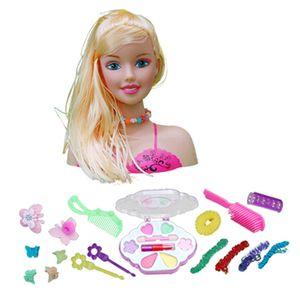 Schmink- und Frisierkopf, 19 x 21 cm, 17-teilig, Mädchen Kosmetik Rollenspiele Spielzeug EIN 27x10x23cm Mehrfarbig