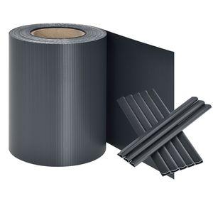 Juskys PVC Sichtschutzstreifen Doppelstabmatten Zaun | 35m x 19 cm | 30 Befestigungsclips | anthrazit | Sichtschutz Windschutz Garten Gartenzaun