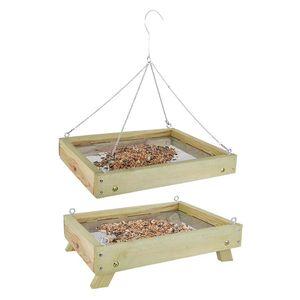 Rivanto® Bodenfuttertisch für Wildvögel, B80 x L35 x H28 cm, Futterstation, Futterstelle für Wildvögel, stehend oder hängend