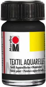 """Marabu Textilfarbe """"Textil Aquarelle"""" schwarz 15 ml auf Wasserbasis"""