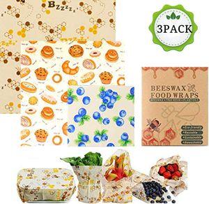 Bienenwachstücher für Lebensmittel, 3er Set Wachspapier Wiederverwendbar LFGB Zertifizierung,Bienenwachstuch als Alternative zur Frischhaltefolie