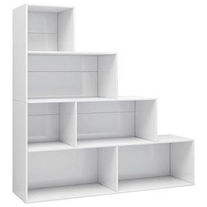 vidaXL Bücherregal/Raumteiler Hochglanz-Weiß 155x24x160 cm Spanplatte