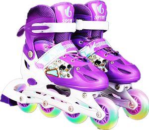 Inline Skates Verstellbare Rollschuhe für Kinder mit Inline-Rollschuhen - Ein Paar Rot Single-Flash-Schuhe / Größe M