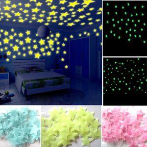 100 Stück multicolor Leuchtsterne Leuchtmond selbstklebend für deinen Sternenhimmel fluoreszierend Leuchtaufkleber im Dunkeln leuchtende Sterne