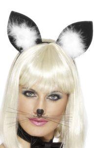 Halloween Karneval Zubehör Katzenohren mit Marabou auf Haarreif