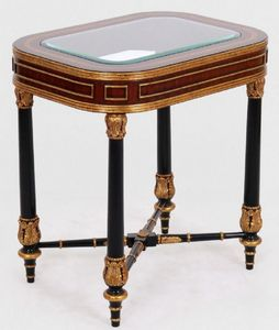 Casa Padrino Luxus Barock Beistelltisch Braun / Schwarz / Gold 61 x 46 x H. 65 cm - Edler Massivholz Tisch mit Glasplatte - Barock Möbel