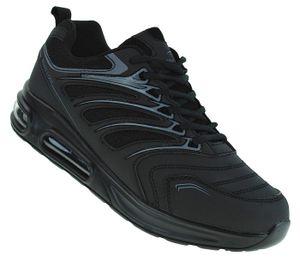 Neon Luftpolster Turnschuhe Schuhe Sneaker Boots Sportschuhe Unisex 095, Schuhgröße:42, Farbe:Schwarz