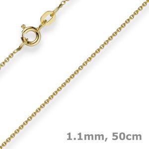 1,1mm Rund-Ankerkette Kette Collier, 585 Gold Gelbgold Goldkette, 50cm