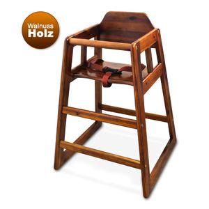Winco Baby-Hochstuhl Kindersitz aus Walnussholz, Sicherheitsgurt, braun