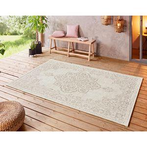 In- und Outdoor Teppich Tilos Creme Beige, Größe:120x170 cm