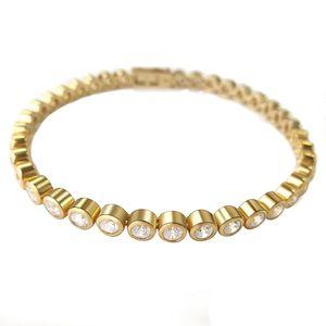 LOVICONI Tennisarmband Sterlingsilber 925 - Silber & Silber vergoldetes Damen Armband mit 39 Swarovski Zirkonia - Armschmuck Armreif - ICV150
