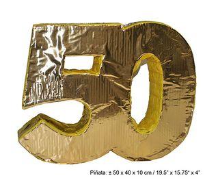 Pinata Zahl 50 Geburtstag Jubiläum gold ca. 50 x 40 x 10 cm