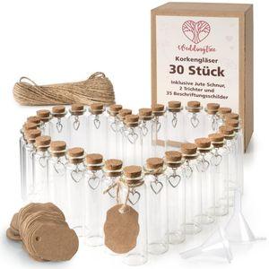 WeddingTree 30 x Reagenzglas mit Korken 13 - 18 ml - Kleine Glasflaschen mit Korken und Herz Anhänger - Als Gastgeschenk Hochzeit Deko Gewürzgläser
