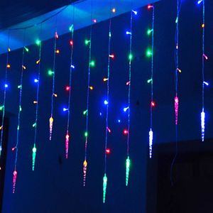 3.5M 96 LED Eiszapfen Beleuchtung Lichtervorhang Außen Xmas Weihnachten Deko Neu Bunt