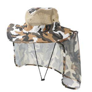 Camouflage Hat Neck Schutz Sommerkappe Anti-Sonne Anti-Moskito-Fischen Jagd Hut 36cm Geometrisch Farbe 3