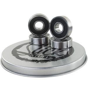 SlickStuff 4x High Quality CroMo-Stahl Stunt Scooter Kugellager schwarz + 2 Spacer in toller Geschenkbox