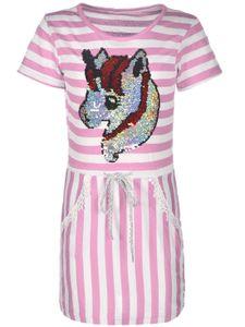 KMISSO Mädchen Kleid mit Wendepailletten Rosa 152