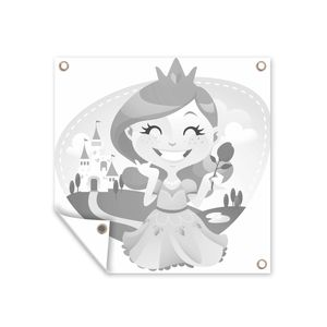 Gartenposter - Kinder Illustration einer lachenden Prinzessin mit einer Rose - schwarz und weiß - 200x200 cm