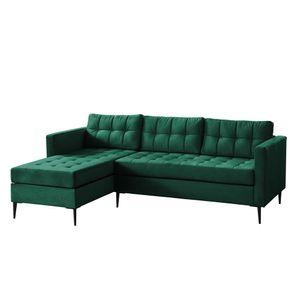Selsey Ecksofa KOPENHAGA - Sofa L-förmig mit Ottomane, schwarzen Metallbeinen, Stoffbezug in Grün, 220 cm breit