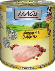 6x800g MAC's Hühnchen & Cranberry  Hunde Nassfutter