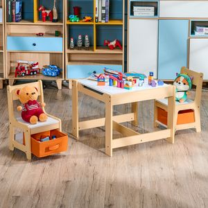 Crenex 3tlg. Kindersitzgruppe Sitzgruppe Kindertisch mit 2 Stühlen Maltisch Kindermöbel