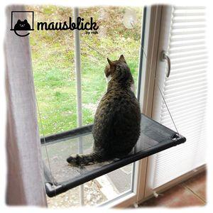Mausblick Katzenliege Fensterplatz, Perfekter Fensterliegeplatz für Katzen als Hängematte