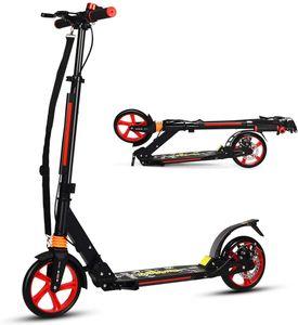 COSTWAY Kickscooter mit Klingel & Traggurt, Scooter höhenverstellbar, Cityroller bis 100kg belastbar, klappbar
