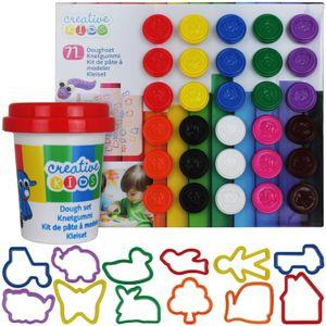 XXL Knete Set Kinder Spielknete 30 Dosen x 55g mit integriertem Förmchen Kinderknete 36 Förmchen Knetset Knetmasse