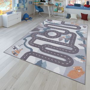 Kinder-Teppich, Spiel-Teppich Für Kinderzimmer Straßen-Motiv Mit Tieren Creme, Größe:140x200 cm