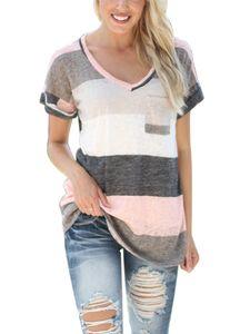 Plus Size Damen Casual V-Ausschnitt gestreiftes T-Shirt Kurzarm Top,Farbe: Grau,Größe:XL